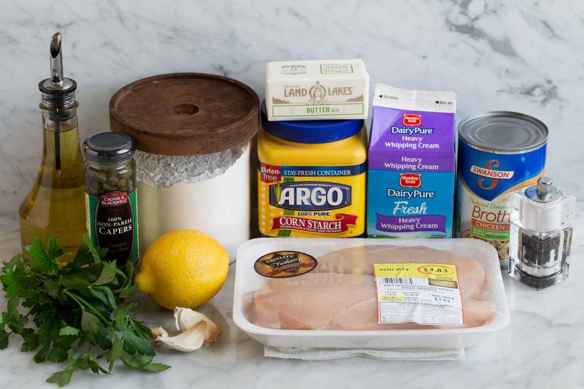 Imagen de los ingredientes que se utilizan para hacer Chicken Piccata.
