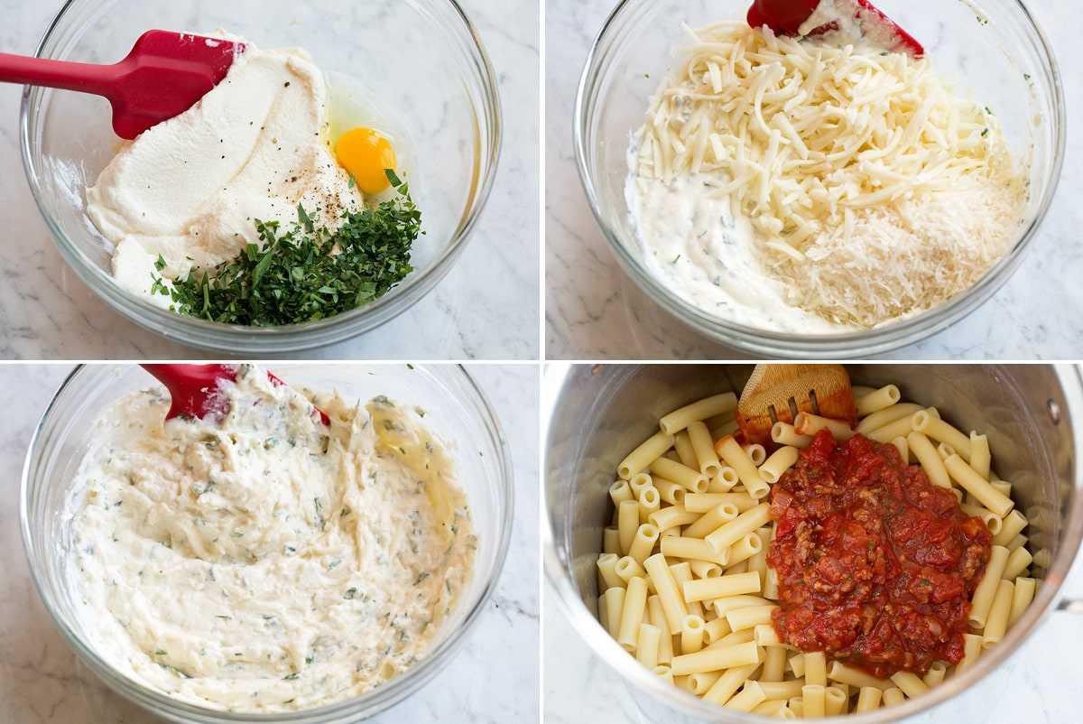 Pasos que muestran cómo hacer relleno de queso para ziti horneado y tirar la pasta con salsa en la sartén.