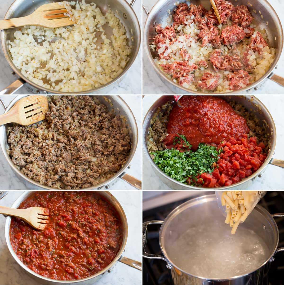 Imagen de los pasos que muestran cómo hacer la salsa para ziti horneado.