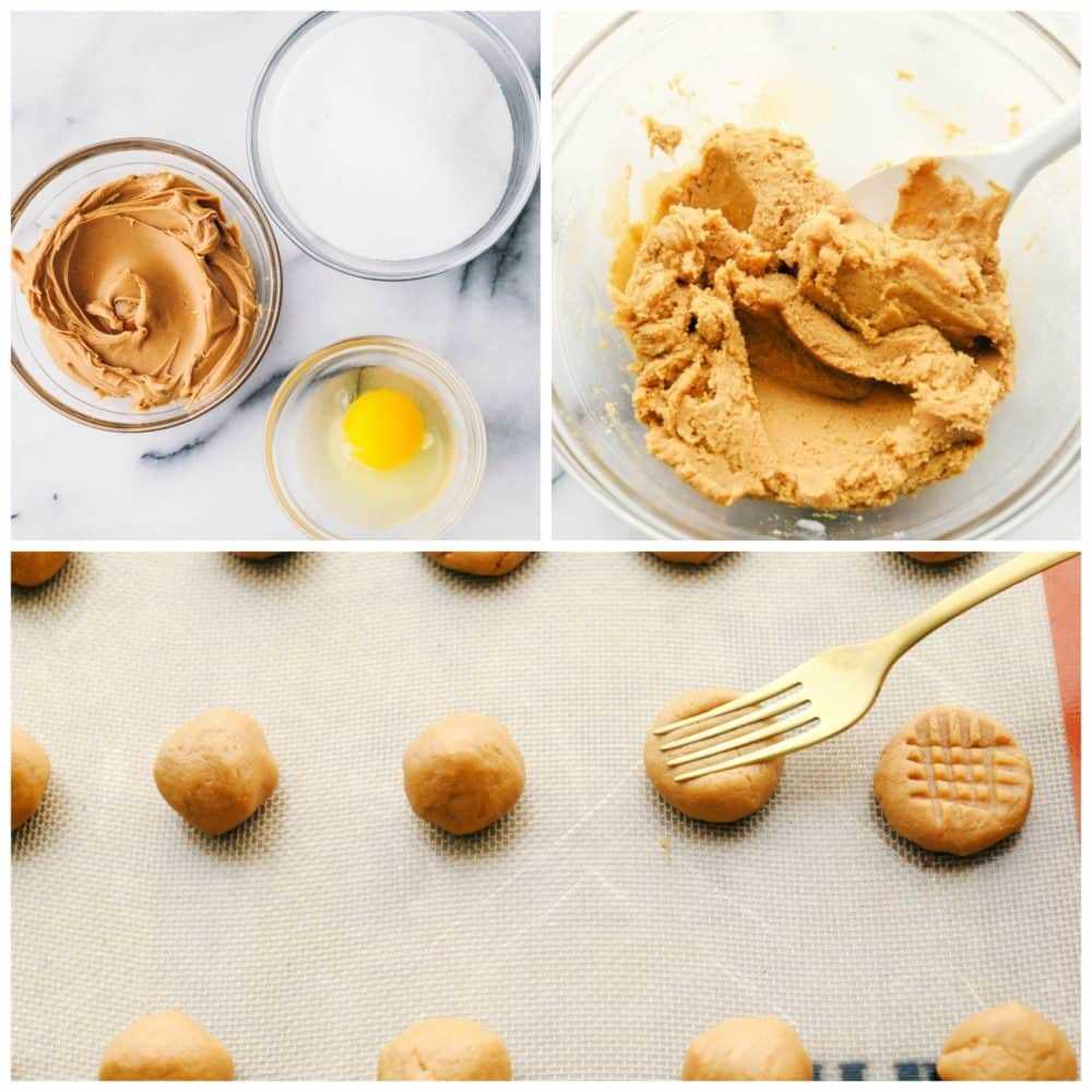 El proceso de la mantequilla de maní de 3 ingredientes con los 3 ingredientes en una foto, la mantequilla de maní, el azúcar y un huevo se agitó y rodó en bolas y se aplastó con un tenedor.