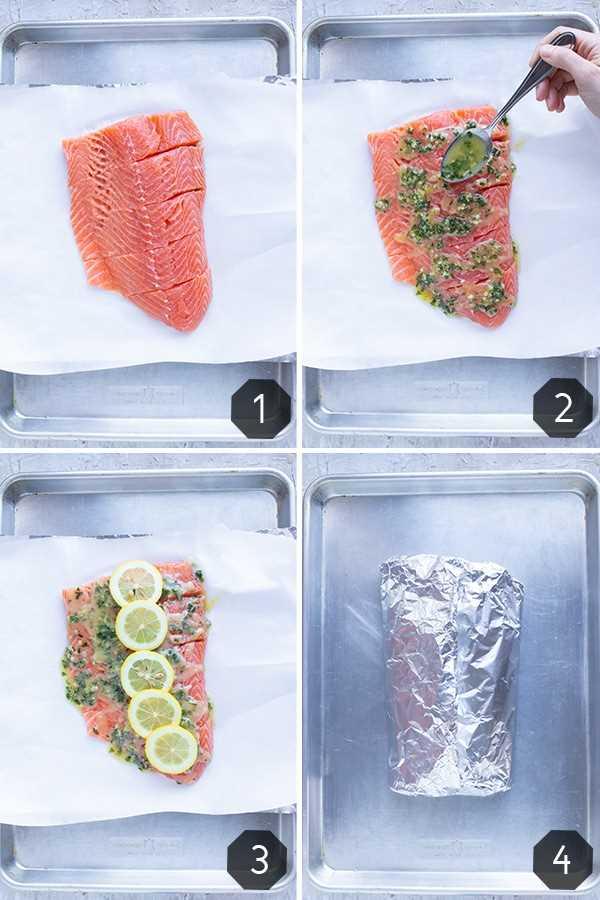 Fotos paso a paso que muestran cómo hacer una receta de albahaca, limón y salmón que se envuelve en papel de aluminio y se hornea en el horno.