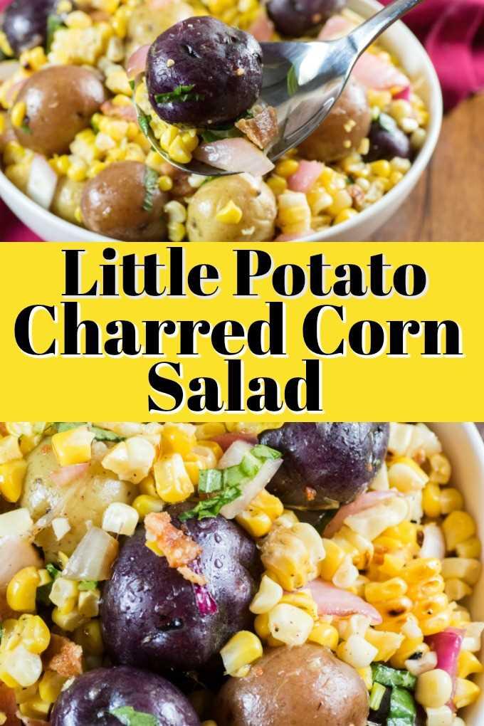 Esta Ensalada de maíz carbonizada con papas pequeñas es fácil de hacer, deliciosa y te dará un nuevo lado para disfrutar durante todo el verano. #littlepotatoes #Creamerpotatoes # ensalada # maíz # tocino