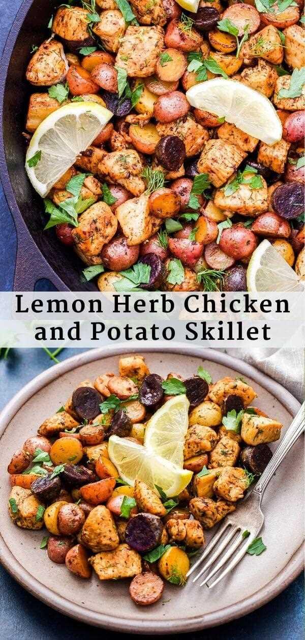 Sartén de pollo y papa con hierbas de limón Pinterest Collage