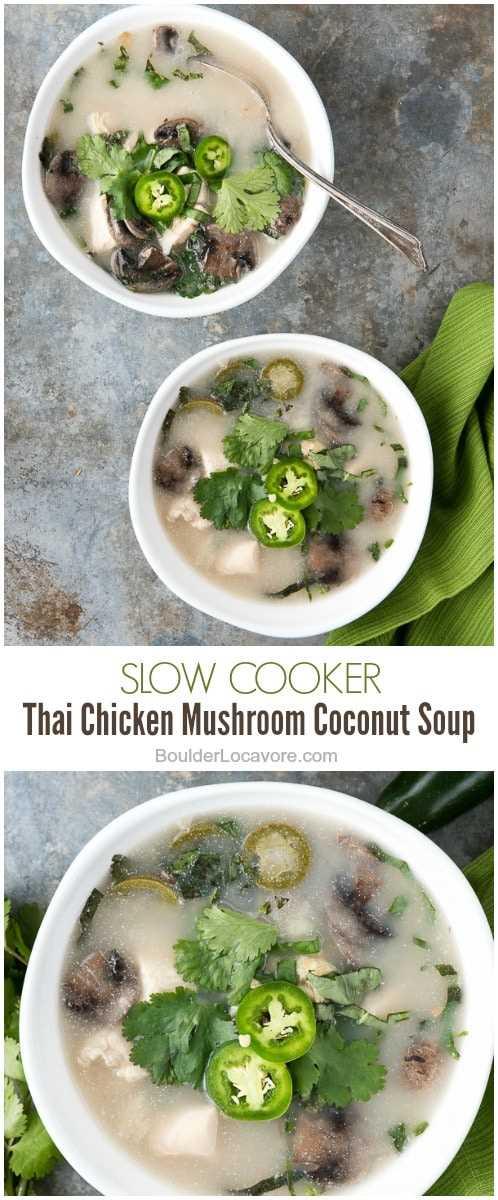 collage de fotos de sopa de coco y champiñones tailandeses con pollo a la olla de cocción lenta