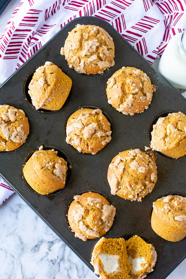 panecillo de muffins de queso crema y calabaza