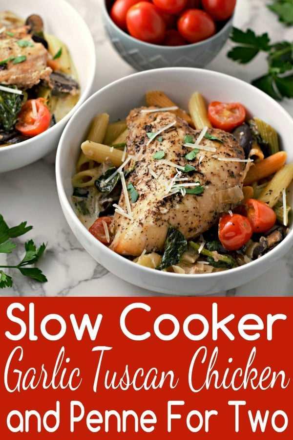 Receta de pollo toscano y ajo toscano con olla de cocción lenta para dos