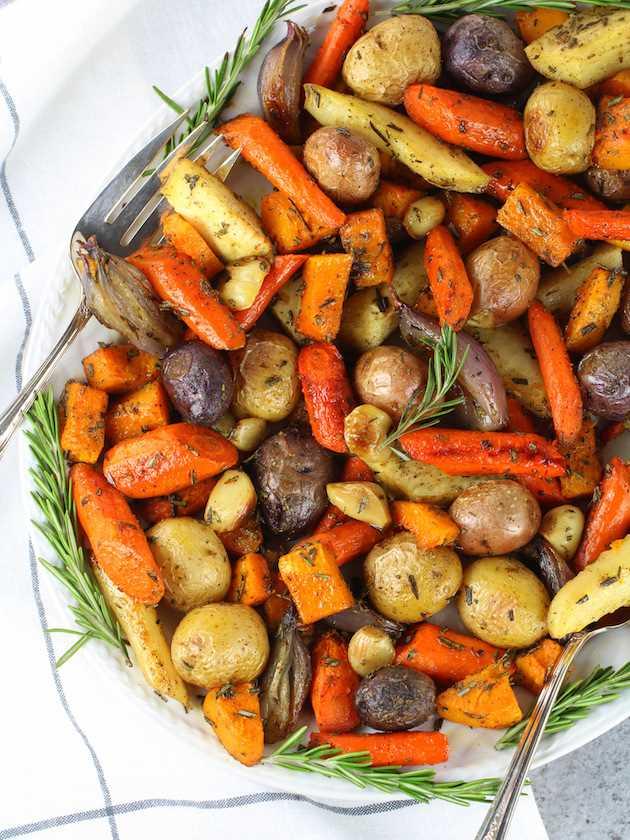 Verduras de otoño asadas con romero