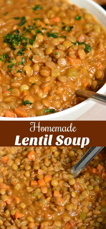 La sopa de lentejas es abundante, saludable y deliciosa. Está hecho con caldo casero, lentejas y verduras que hacen que esta alma sea saludable y saludable al mismo tiempo. #soup #lentils #lentilsoup #heartysoup