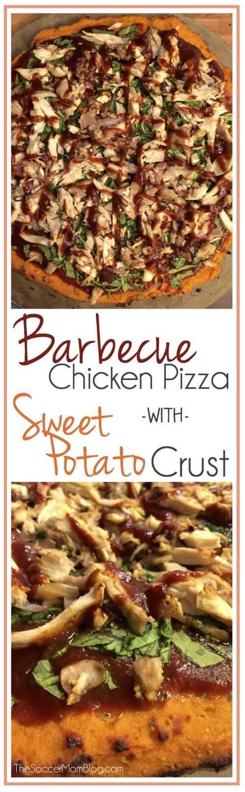 Saludable pizza de pollo a la barbacoa con corteza de batata - sin gluten, sin lácteos, ¡y tiene un sabor INCREÍBLE!