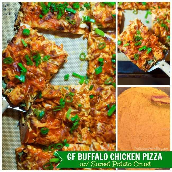 ¡Un nuevo giro en nuestra receta más popular NUNCA, Buffalo Chicken Pizza with Sweet Potato Crust es saludable, picante y totalmente satisfactorio! sin gluten y sin lácteos