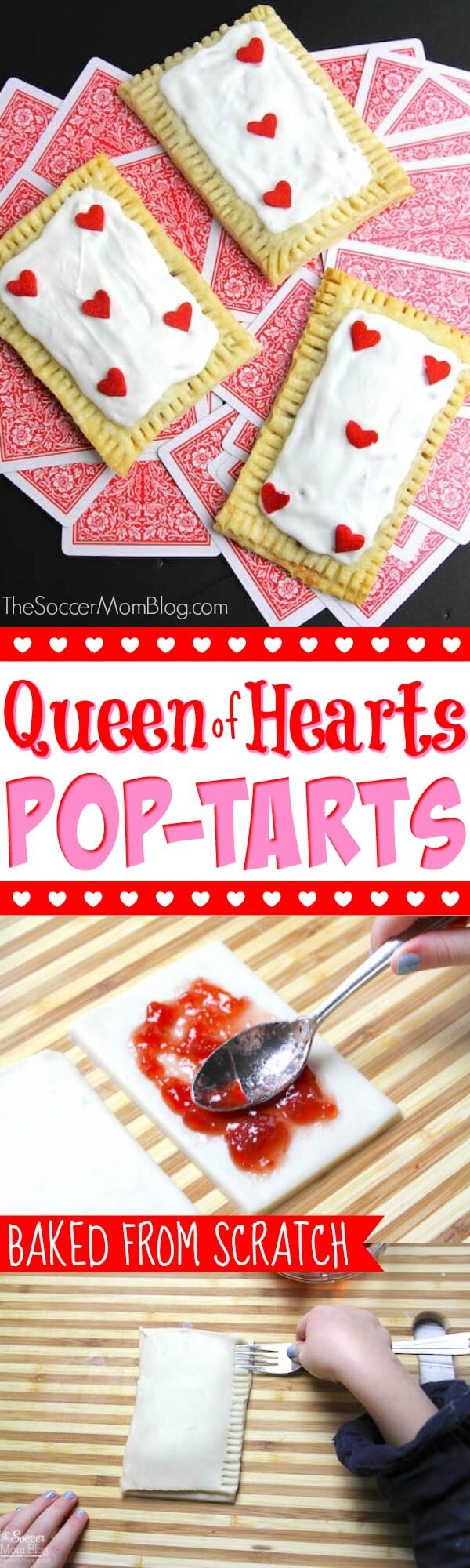Adorable, horneado desde cero Pasteles Queen of Hearts (¡tartas caseras de pop!) Perfecto para una fiesta de San Valentín o un cumpleaños temático de Alicia en el país de las maravillas