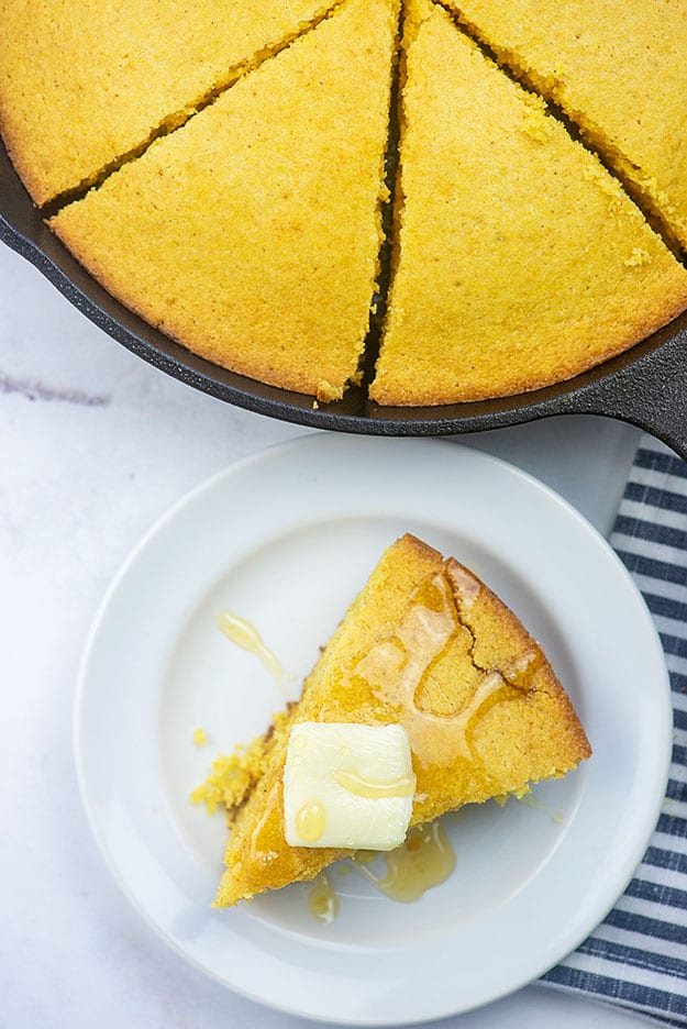 homemade corn bread in a cast iron skillet