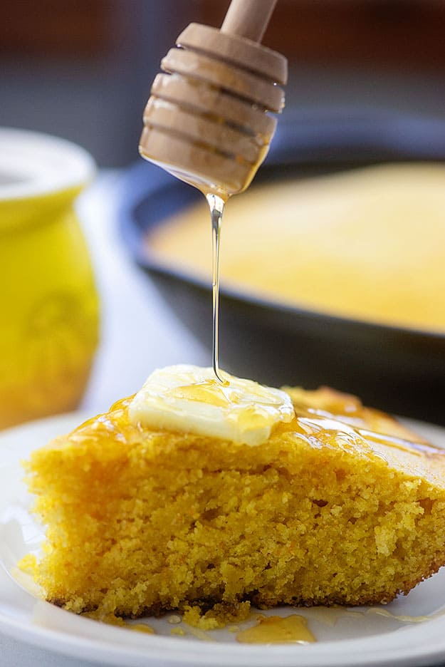 corn bread with honey and butter