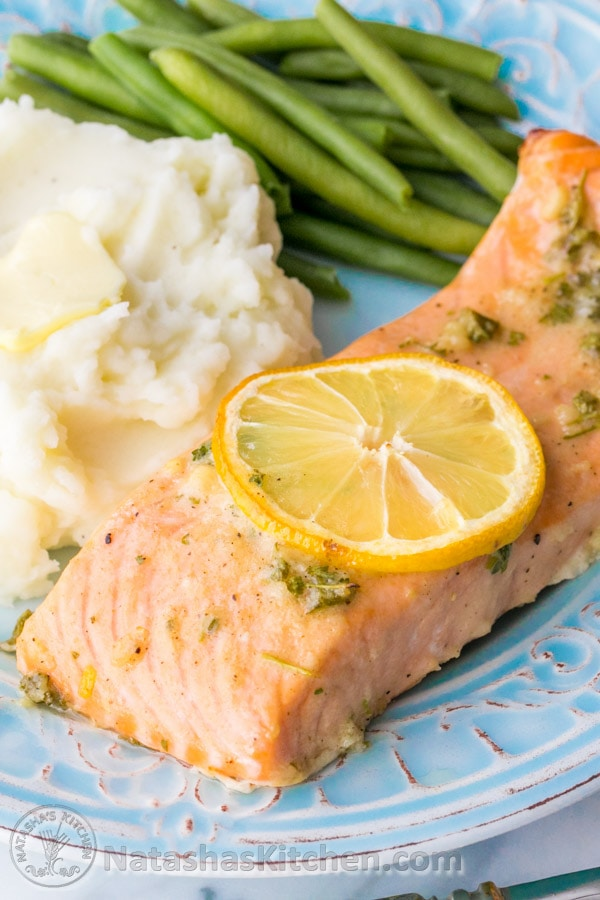 Our favorite recipe for baked salmon: juicy, flaky and super delicious. A 5-star recipe! The | natashaskitchen.com