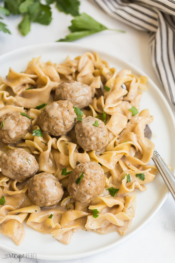 Swedish instant meatballs and noodles