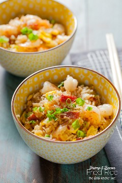 A recipe for fried rice so easy and the best of all ... with a secret ingredient that makes it just like your favorite fried rice! The Little Kitchen Bacon & Shrimp Fried Rice thelittlekitchen.net