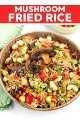 Esta receita de arroz frito com cogumelos é barata e super rápida de fazer. É uma ótima maneira de usar o arroz cozido restante, tudo é feito em uma panela e não leva mais de 15 minutos!