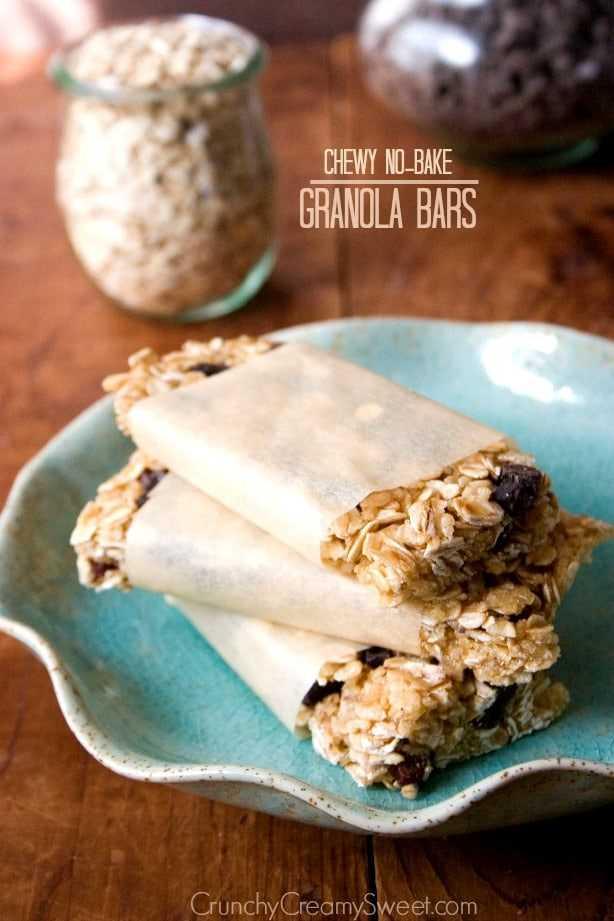 barras de granola1 Barras de granola masticables sin hornear