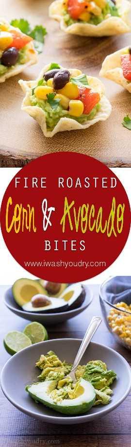 Essas picadas de milho e abacate assadas no fogo são um lanche ou aperitivo super rápido e fácil. Comida perfeita para festas!