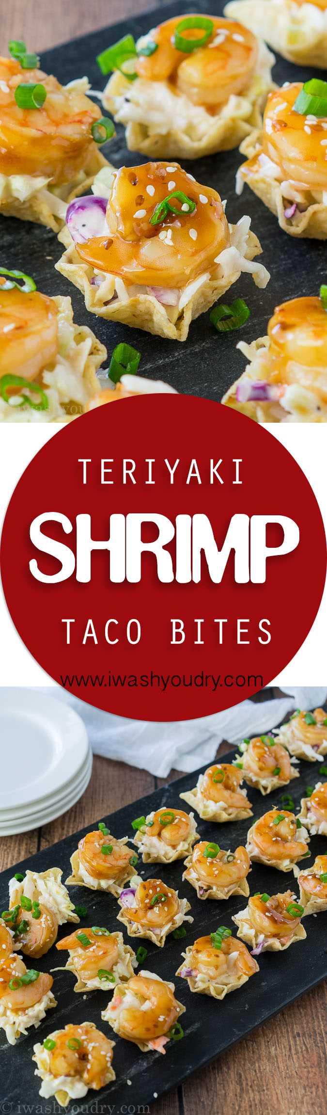 Estas picaduras de taco de camarones Teriyaki son todo lo que te gusta de un taco de camarones, ¡pero en una forma de bocado del tamaño de un bocado! Ensalada de col picante, camarones tiernos y dulces teriyaki y una cucharada crujiente de tortilla. Perfecto para aperitivos!