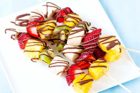 Frozen Fruit Skewers with Chocolate Drizzle