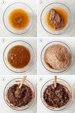 Procese el collage de tomas que muestra cómo mezclar los ingredientes húmedos y luego agrega los ingredientes secos