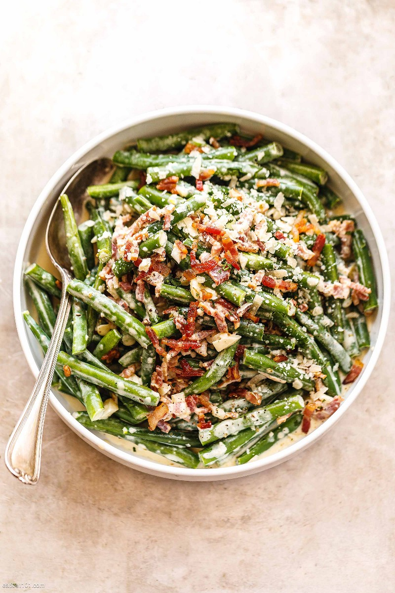 Recipe 2 of creamy parmesan and green beans with bacon