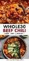 Collage de Pinterest para una receta Whole30 de chile de carne.