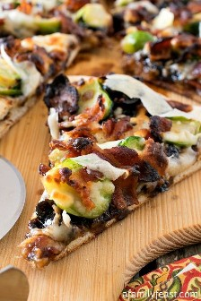 Brussels sprouts and bacon pizza - a fantastic combination of flavors for a pizza!