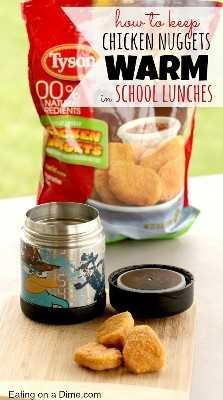 nuggets de pollo calientes en almuerzos escolares