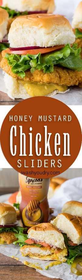 Estou obcecado com esses sliders crocantes de mel e frango com mostarda! O molho de mostarda doce e picante de mel é incrível!
