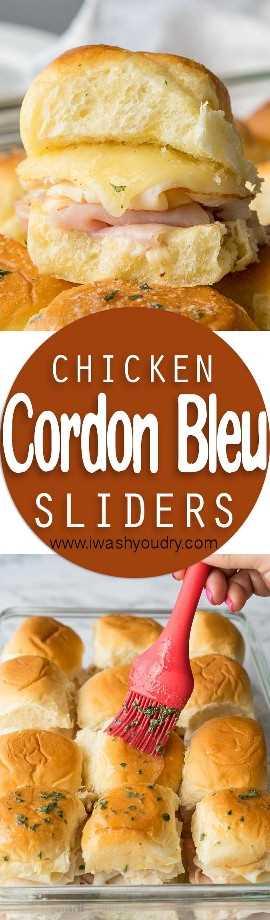 Estos deslizadores Butter Chicken Cordon Bleu tienen capas de queso suizo, lonchas finas de jamón y pollo con una salsa irresistible de miel y mostaza en un rollo suave y mantecoso, luego se hornean hasta que estén calientes y muy pegajosos.