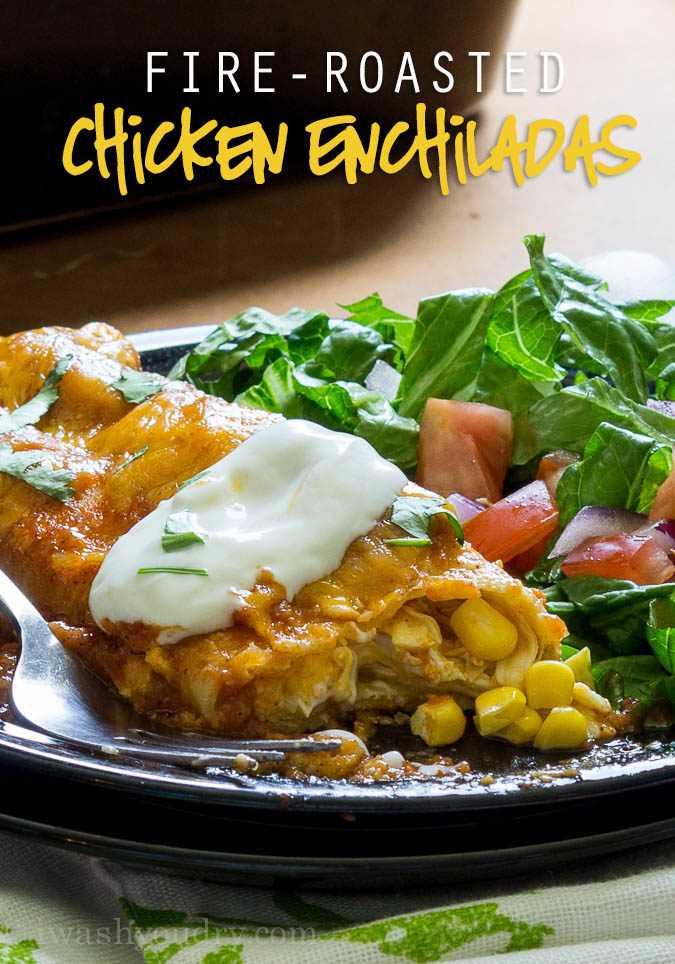 Enchiladas de pollo asadas al fuego