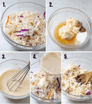 fotos de salada de repolho estão em processo