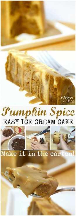 Este bolo de sorvete de abóbora e especiarias é praticamente à prova de falhas: você faz o papel certo! A sobremesa perfeita, original e FÁCIL de Ação de Graças!