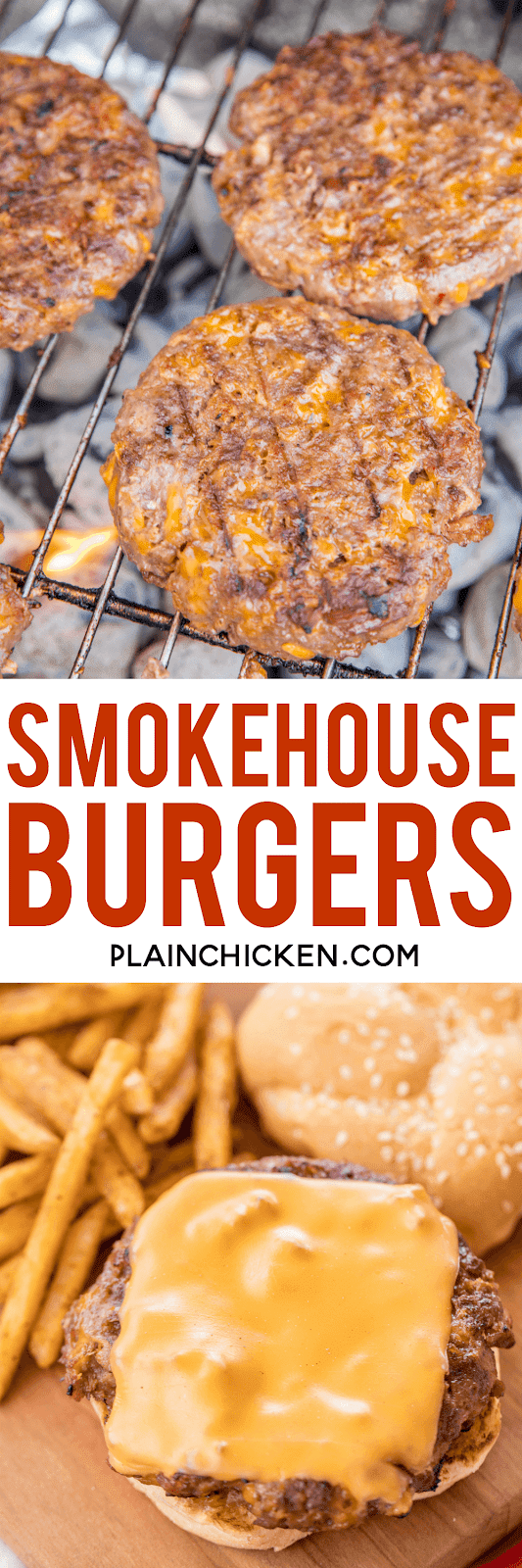Smokehouse Burgers - ¡LAS MEJORES hamburguesas! Carne molida y salchichas cargadas de queso cheddar, tocino, rancho, salsa barbacoa y cebollas fritas. ¡¡¡Perfección!!! Se puede adelantar y congelar para más tarde. ¡Hicimos esto para una comida al aire libre y todos pidieron la receta! Nuestra receta de hamburguesas # 1 !! ¡Necesitas hacer esto lo antes posible! #grilling #burgers #beef