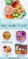 Gráfico para hummus post remolacha para bebés, niños pequeños y niños con imágenes de cómo servirlo a cada grupo de edad.