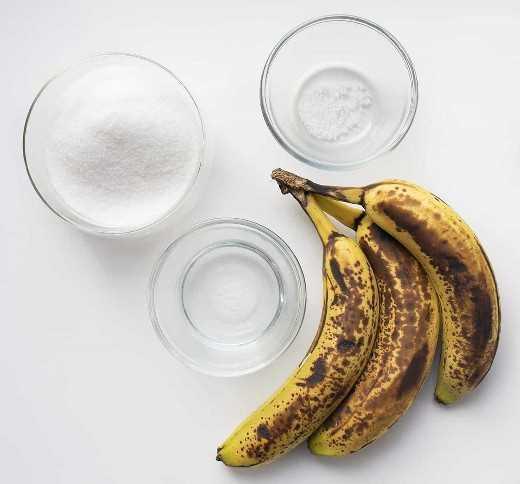 Ingredientes para el jarabe simple de plátano