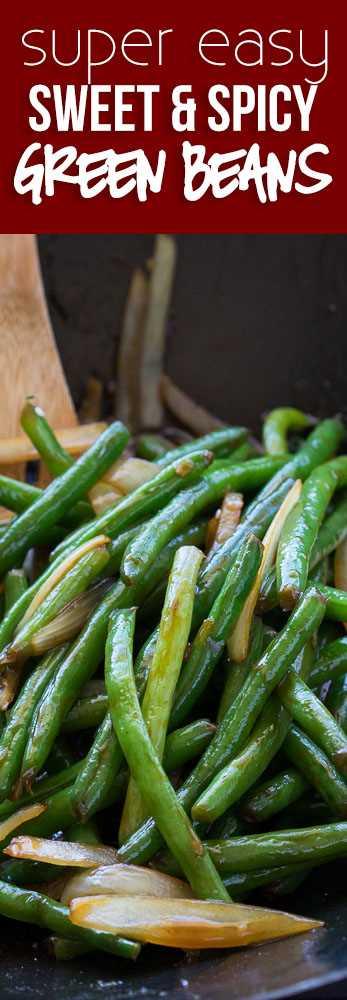 ¡Estas judías verdes dulces y picantes son una guarnición de vegetales súper fácil con un toque asiático! Perfecto para una concurrida cena entre semana!