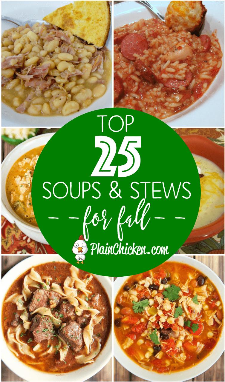 Las 25 mejores sopas y guisos para el otoño: ¡algo para todos! ¡Cocción lenta y cocción rápida de sopas y guisos para todas las noches de la semana! Garantizado para complacer a toda la familia. Puede congelar las sobras para una comida rápida más tarde.