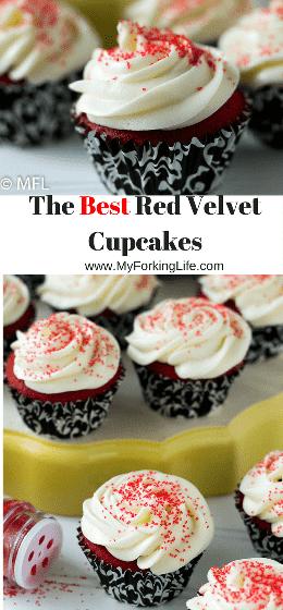 Os melhores cupcakes de veludo vermelho! Bolinhos molhados e muito vermelhos perfeitos. Sobremesa perfeita para o dia dos namorados.