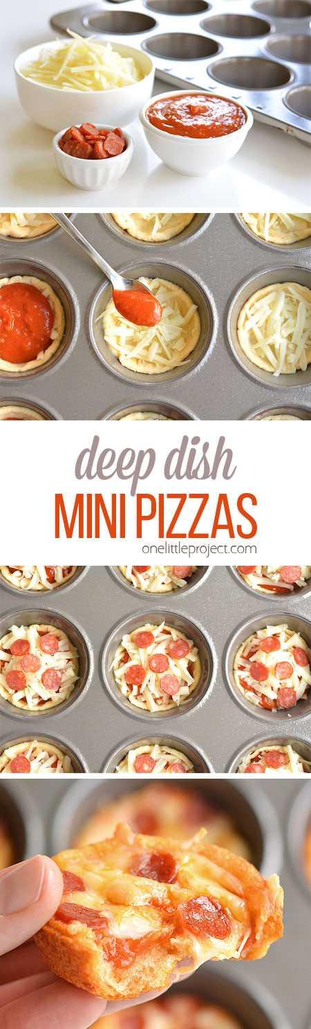 Estas mini pizzas de plato hondo son muy fáciles de hacer y ¡SABOR INCREÍBLE! ¡Hacen un gran almuerzo, cena o incluso podría servirlos como aperitivo!