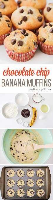 Estos panecillos ligeros y tiernos de plátano con chispas de chocolate son perfectos para el desayuno, el postre o una merienda rápida. ¡Son tan fáciles de hacer y deliciosos también!