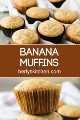 Duas fotos de muffins de banana separados pelo título da receita.