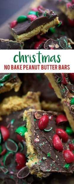 Não há barras de manteiga de amendoim assadas, todas vestidas para o Natal! Apenas um punhado de ingredientes e muito fácil! #nobake # manteiga de amendoim # Natal # receitas
