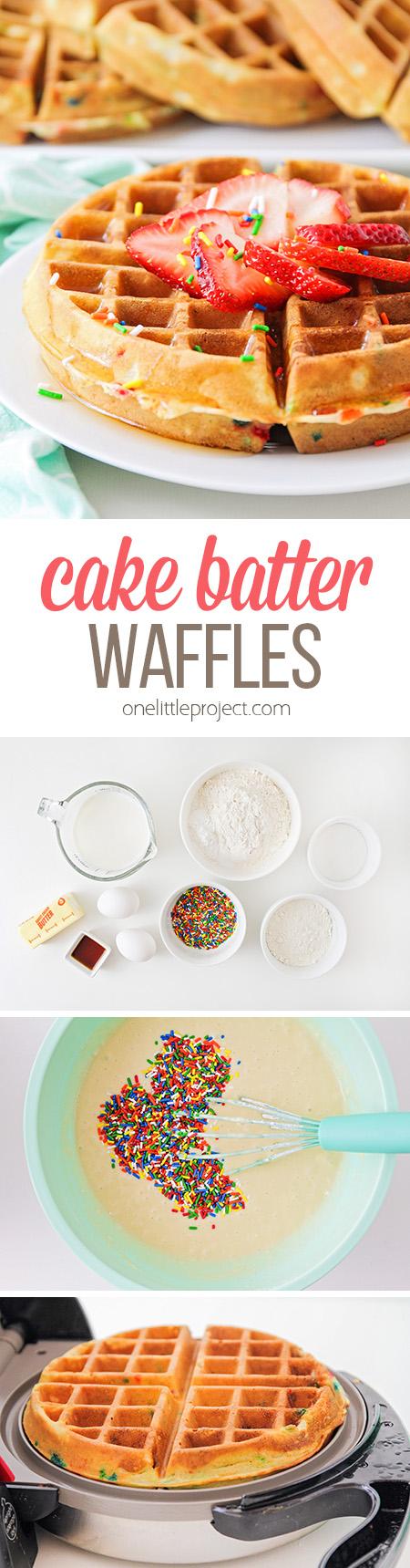 ¡Estos waffles de masa de pastel saben igual que el pastel de cumpleaños, pero en forma de waffle! ¡Son perfectos para cumpleaños o para cualquier momento que necesite un desayuno especial!