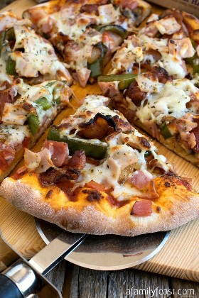 Easy Meat Lover's Pizza is positive proof that you can still enjoy a delicious pizza night at home, even if you're making an effort to eat a cleaner diet.