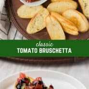 ¡Un clásico aperitivo italiano hecho con tomates frescos, ajo y albahaca, esta receta de bruschetta de tomate es brillante y deliciosa, y súper fácil de hacer! ¡Te encantará!
