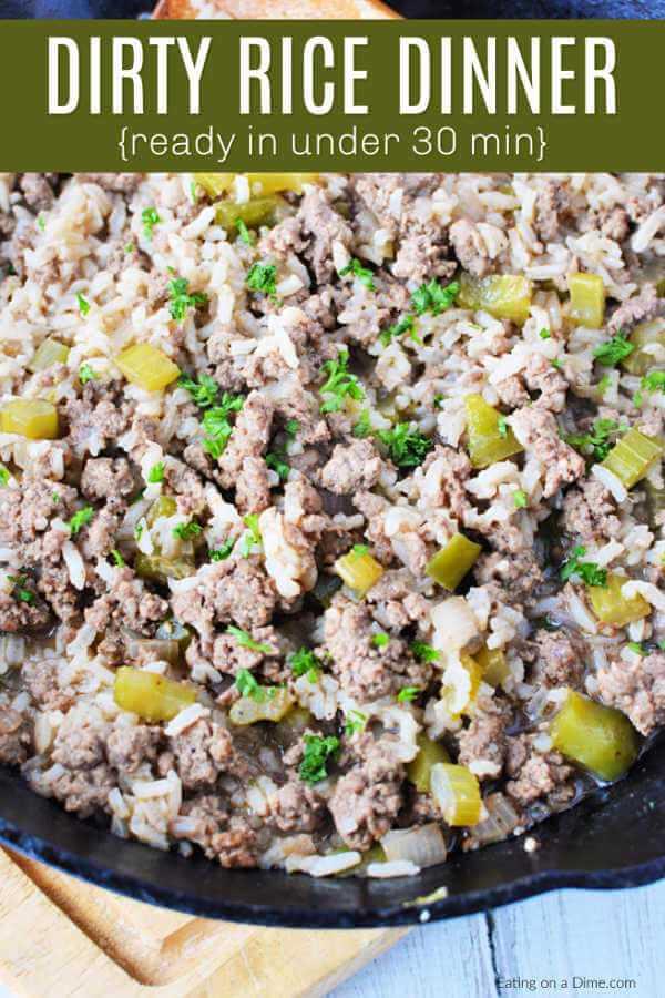 Esta receita de arroz sujo é simples e perfeita para noites agitadas. A carne e os legumes são misturados para obter o melhor sabor e tornar o arroz tão recheado e delicioso.