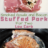 Bacon defumado e costeletas de porco recheadas Gouda para duas pessoas